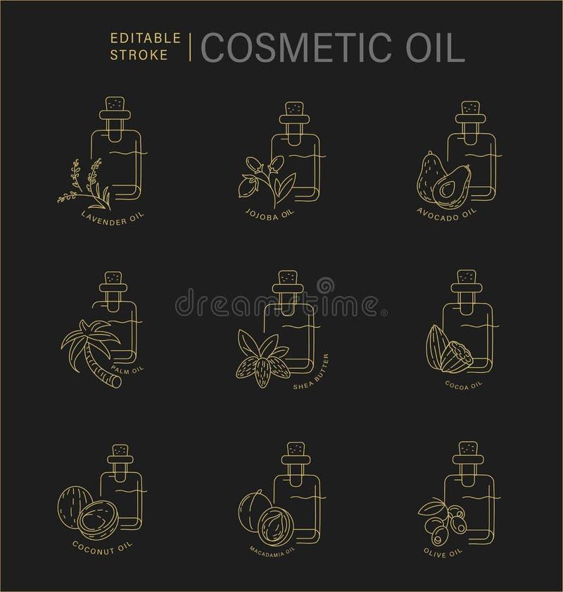 O ícone e o logotipo do vetor para cosméticos naturais lubrificam para importar-se a pele seca ilustração do vetor