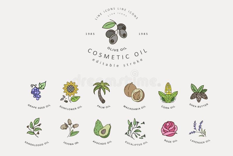 O ícone e o logotipo do vetor para cosméticos naturais lubrificam para importar-se a pele seca ilustração stock