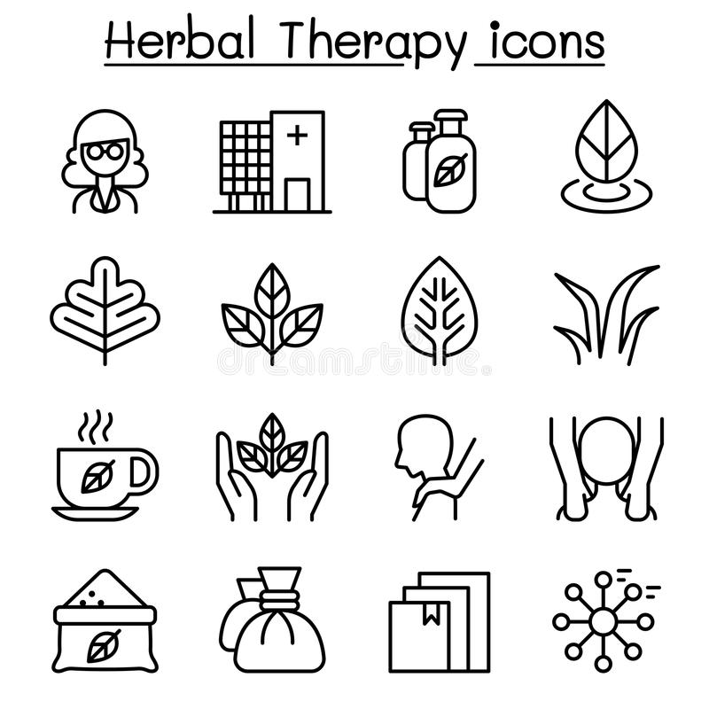 O ícone erval da terapia & dos termas ajustou-se na linha estilo fina ilustração do vetor