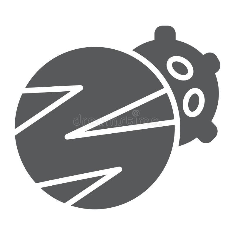 O ícone, o espaço e a astronomia do glyph dos planetas, dois planetas assinam, os gráficos de vetor, um teste padrão contínuo em  ilustração royalty free
