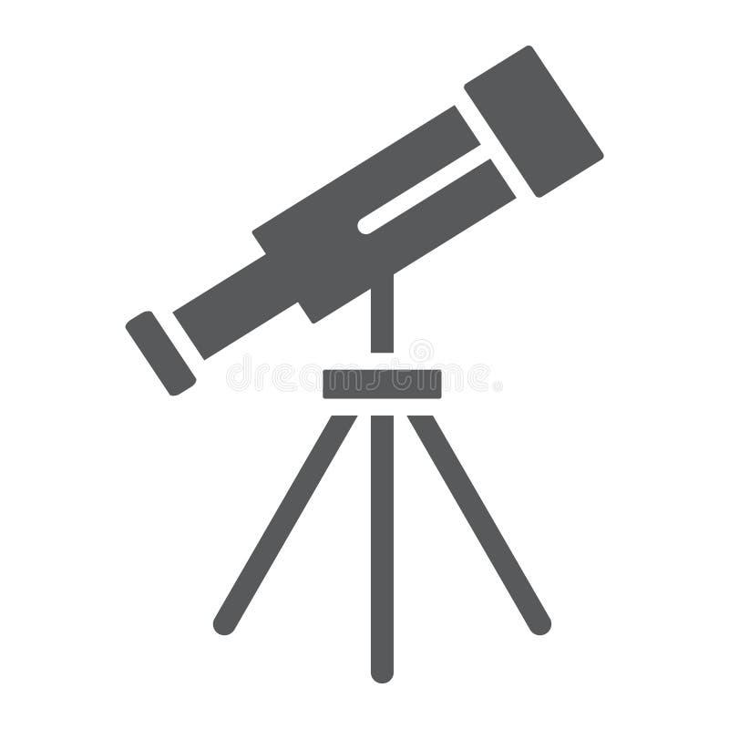 O ícone, o espaço e a astronomia do glyph do telescópio, ampliam o sinal, gráficos de vetor, um teste padrão contínuo em um fundo ilustração royalty free
