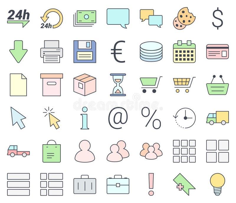 O ícone fino simples do comércio eletrônico ajustou-se, enchendo-se com as cores pastel, isoladas no fundo branco ilustração do vetor