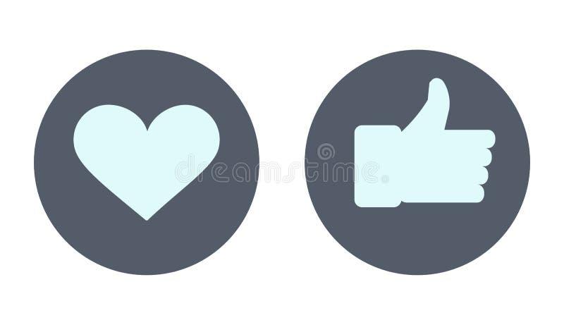O ícone GOSTA Ícone do coração Rede social como ícones ilustração royalty free