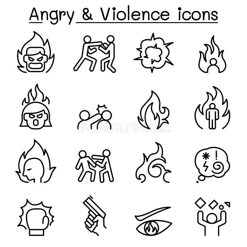 O ícone irritado & da violência ajustou-se em linhas estilo finas ilustração stock