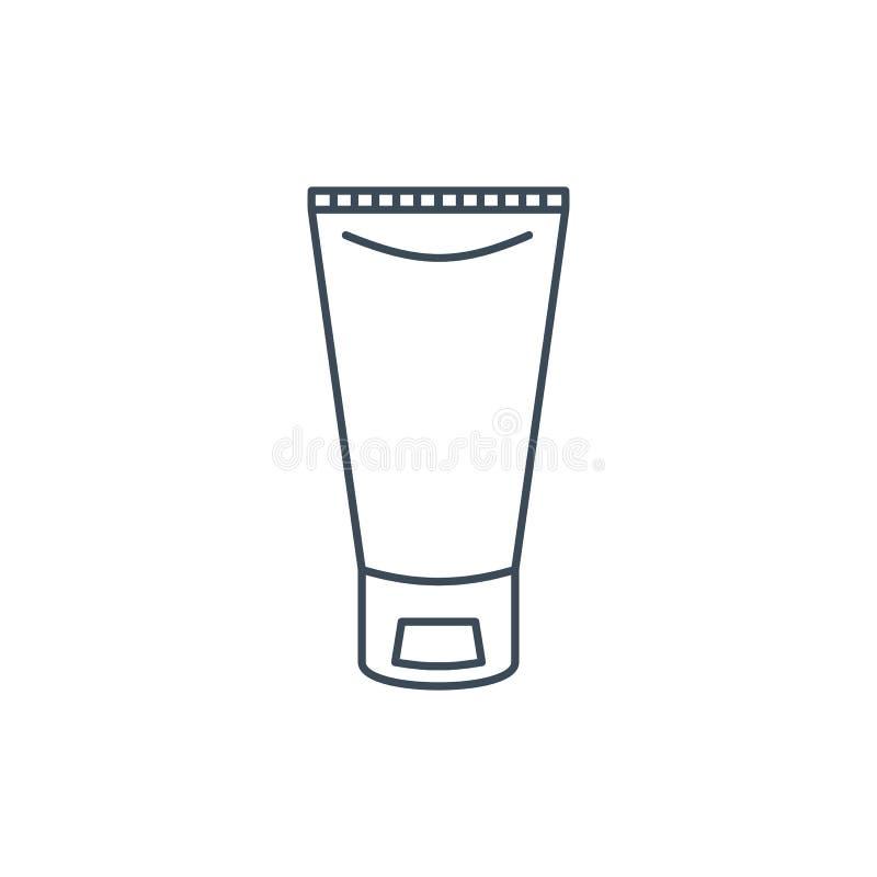 O ícone linear de um tubo do creme ilustração do vetor