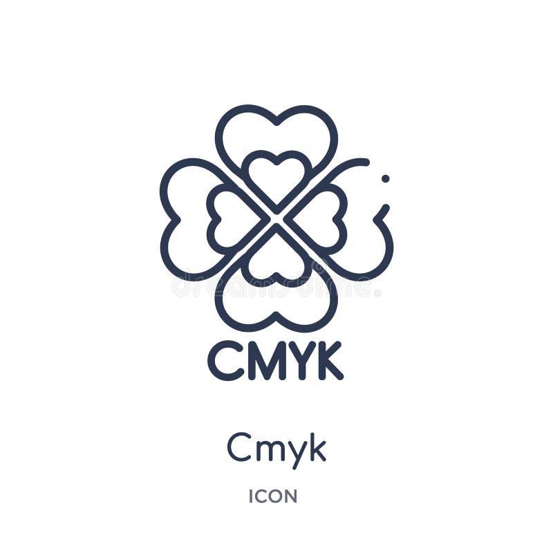 O ícone linear do cmyk de edita a coleção do esboço Linha fina vetor do cmyk isolado no fundo branco ilustração na moda do cmyk ilustração royalty free
