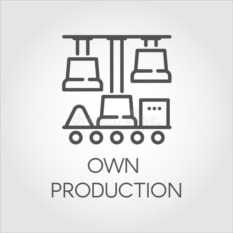 O ícone linear do contorno que simboliza possui a produção Conceito automático moderno das tecnologias Gráfico preto da imagem gr ilustração do vetor