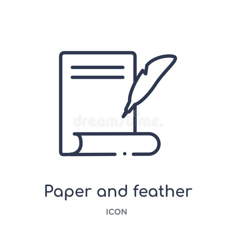 O ícone linear do papel e da pena de edita a coleção do esboço Linha fina papel e vetor da pena isolado no fundo branco Papel ilustração do vetor