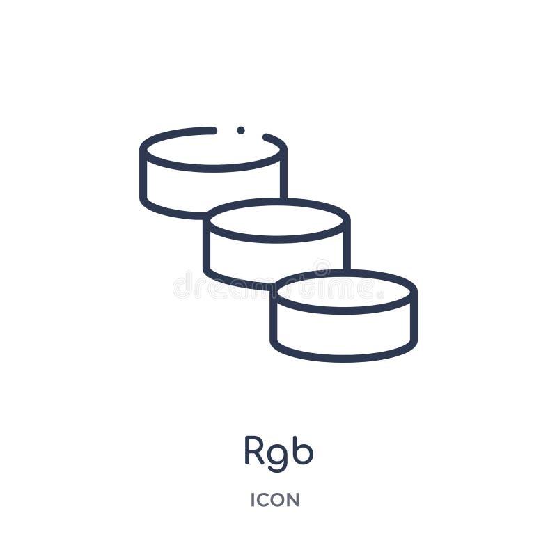 O ícone linear do rgb de edita a coleção do esboço Linha fina vetor do rgb isolado no fundo branco ilustração na moda do rgb ilustração royalty free