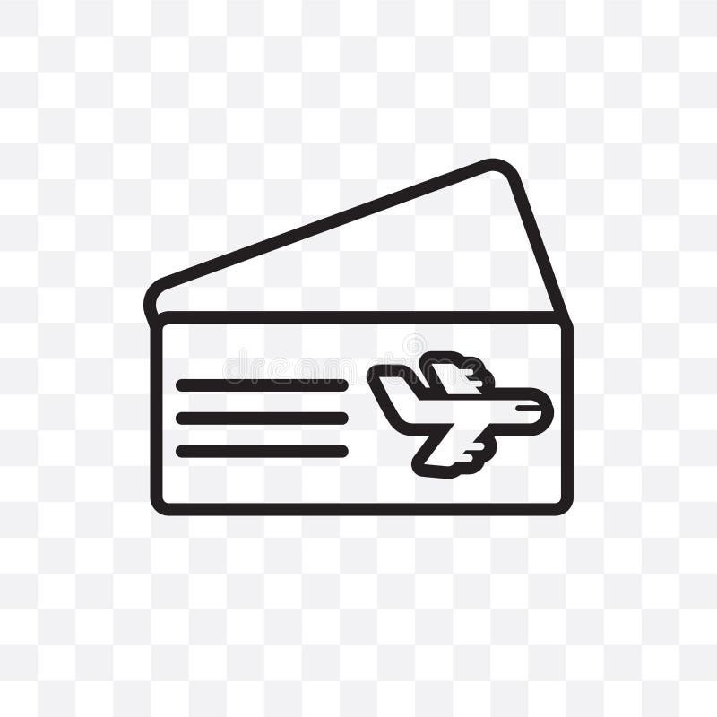 O ícone linear do vetor do bilhete plano isolado no fundo transparente, conceito da transparência do bilhete plano pode ser usado ilustração royalty free