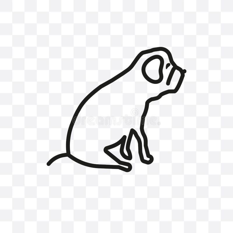 O ícone linear do vetor do cão de Cane Corso isolado no fundo transparente, conceito da transparência do cão de Cane Corso pode s ilustração stock