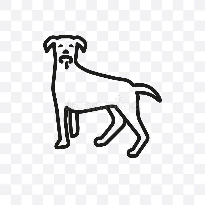O ícone linear do vetor do cão de Weimeraner isolado no fundo transparente, conceito da transparência do cão de Weimeraner pode s ilustração stock