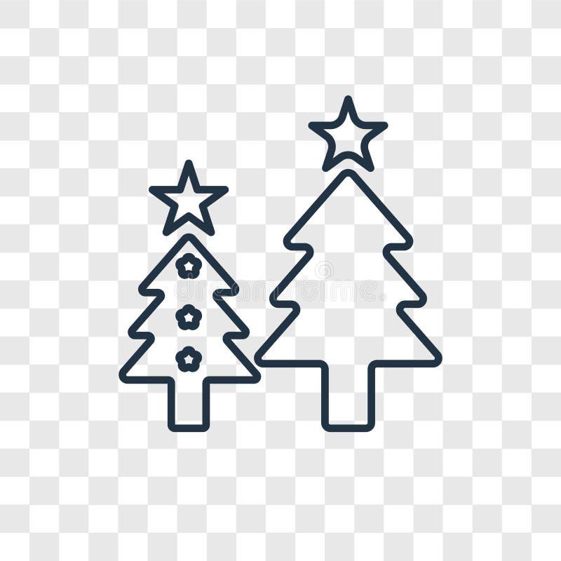 O ícone linear do vetor do conceito da árvore de Natal isolado sobre transparen ilustração royalty free