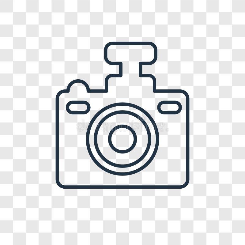 O ícone linear do vetor do conceito da câmera compacta isolado sobre transparen ilustração royalty free