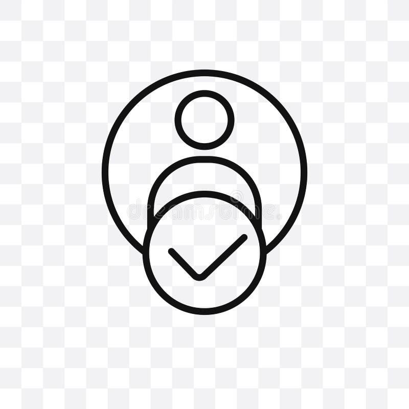 O ícone linear do vetor da autenticação isolado no fundo transparente, conceito da transparência da autenticação pode ser usado p ilustração stock
