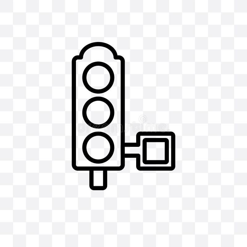 O ícone linear do vetor dos sinais isolado no fundo transparente, conceito da transparência dos sinais pode ser usado para a Web  ilustração stock