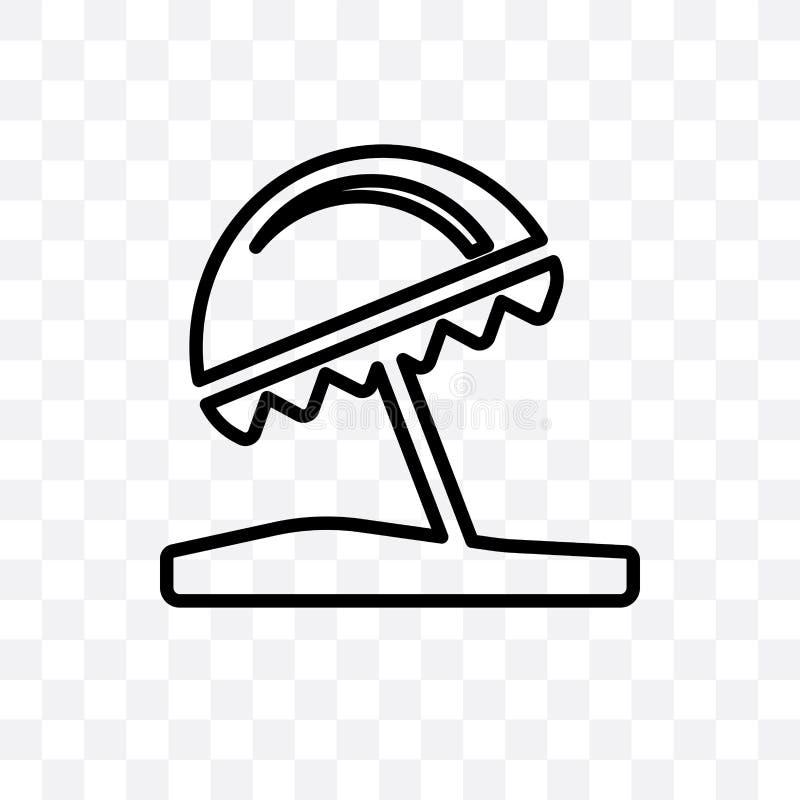 O ícone linear do vetor do guarda-chuva de praia isolado no fundo transparente, conceito da transparência do guarda-chuva de prai ilustração royalty free