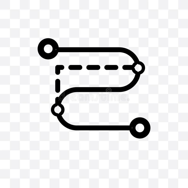 O ícone linear do vetor do trajeto do segmento isolado no fundo transparente, conceito da transparência do trajeto do segmento po ilustração do vetor