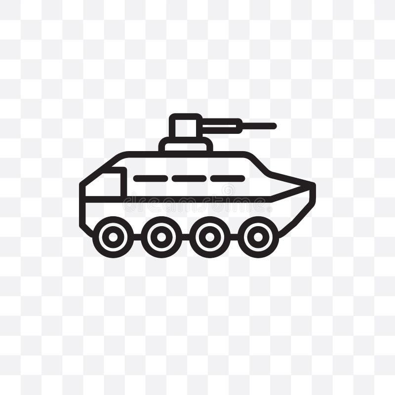 O ícone linear do vetor do veículo de Armo isolado no fundo transparente, conceito da transparência do veículo de Armo pode ser u ilustração royalty free