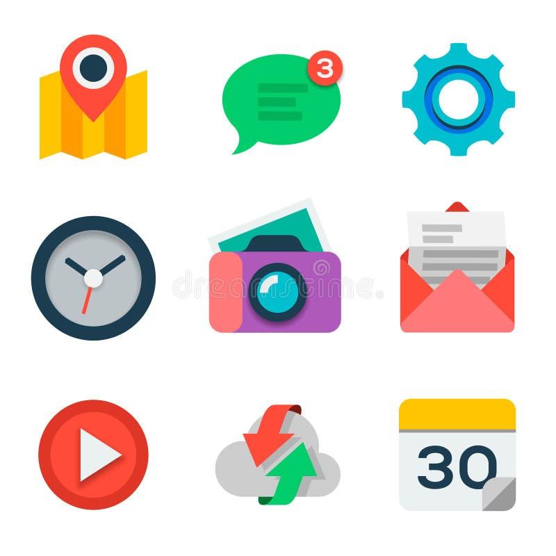 O ícone liso básico ajustou-se para a Web e a aplicação móvel ilustração do vetor