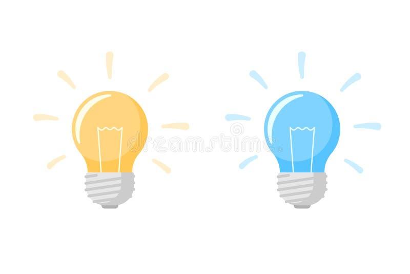 O ícone liso da lâmpada amarela e azul da ampola com raios brilhantes brilha o grupo Inovação da energia e símbolo criativo da id ilustração stock