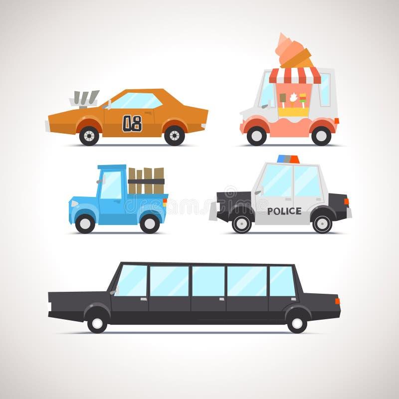 O ícone liso do carro ajustou 2 ilustração do vetor