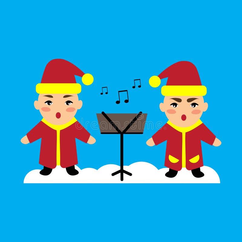 O ícone liso em crianças azuis do fundo canta músicas de natal ilustração royalty free