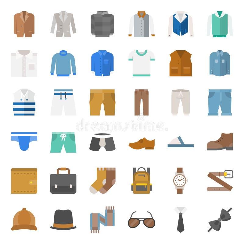 O ícone liso masculino da roupa e dos acessórios ajustou 1 ilustração stock