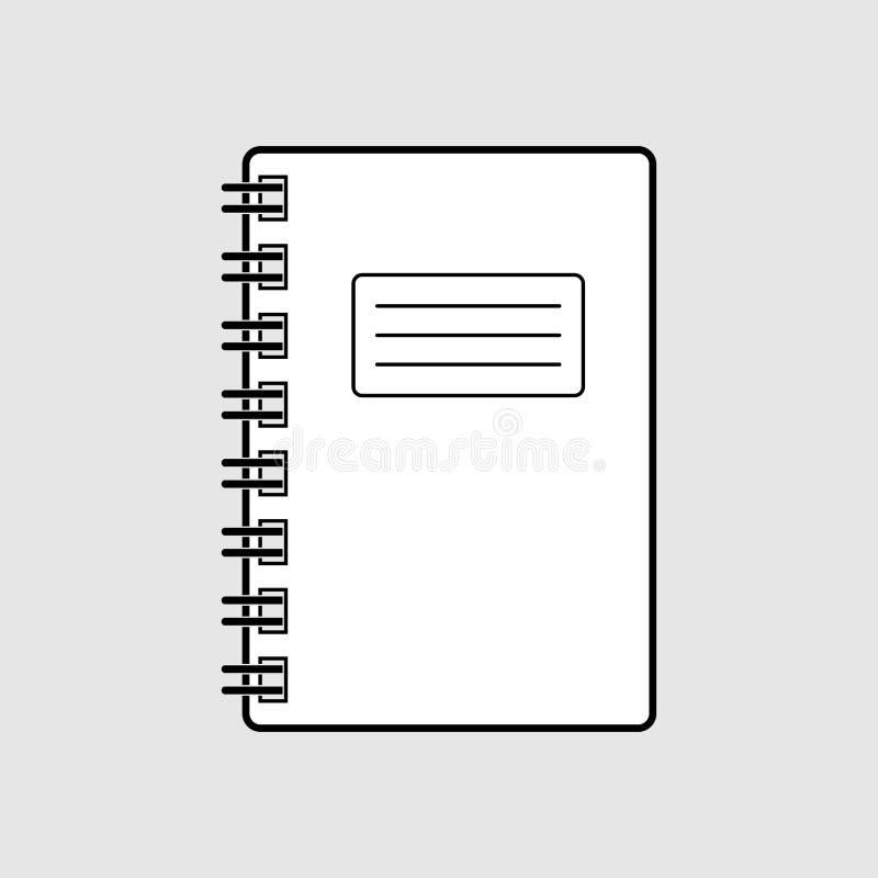 O ícone liso preto e branco gráfico simples do caderno do vetor isolou-se Sinal do bloco de notas da mola no fundo cinzento ilustração do vetor