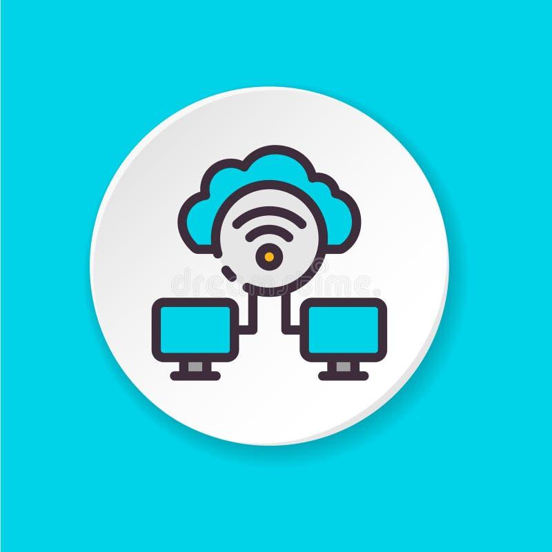 O ícone liso Wi-Fi do vetor conecta Loja dos dados Botão para a Web ou o app móvel Interface de utilizador de UI/UX imagens de stock