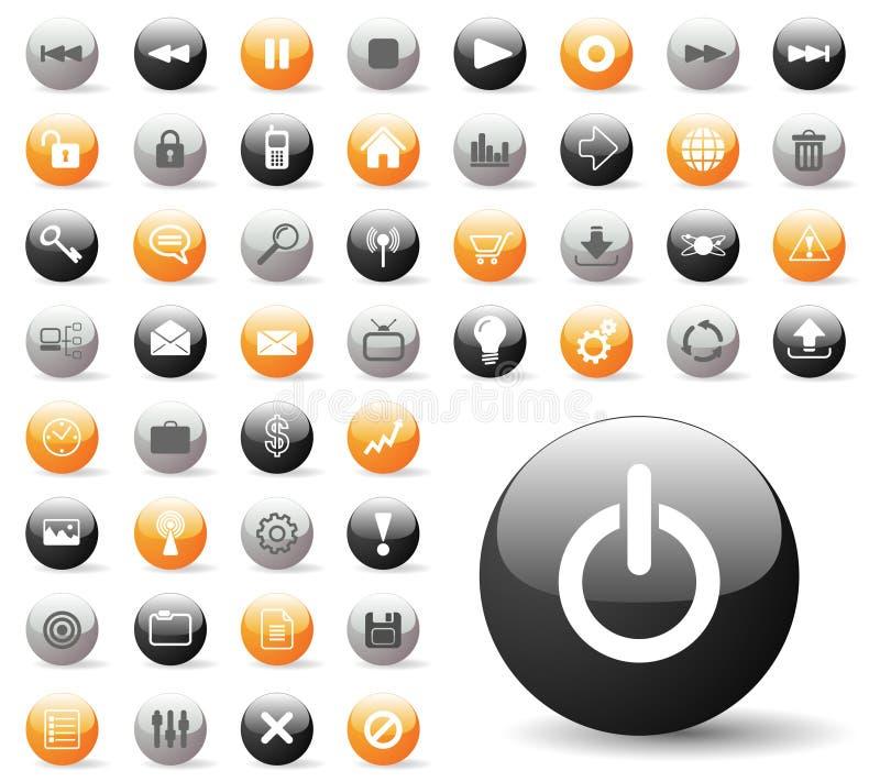 O ícone lustroso ajustou-se para aplicações do Web site fotos de stock