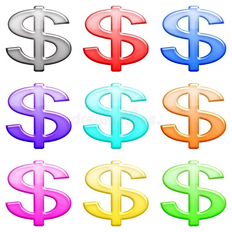 O ícone lustroso do dinheiro ajustou 1. ilustração royalty free
