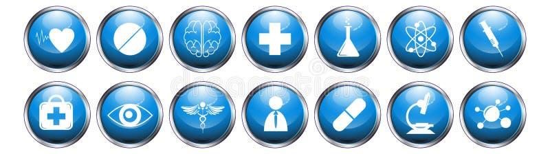 O ícone médico do botão metálico lustroso azul ajustou-se no fundo branco ilustração do vetor