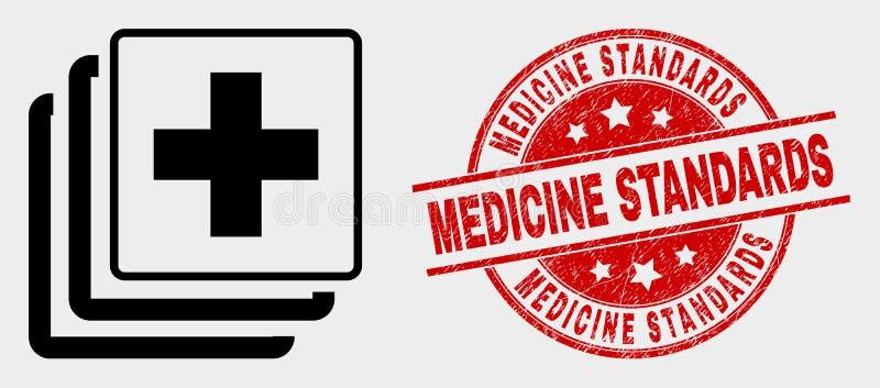 O ícone médico dos dados do vetor e os padrões riscados da medicina carimbam o selo ilustração royalty free