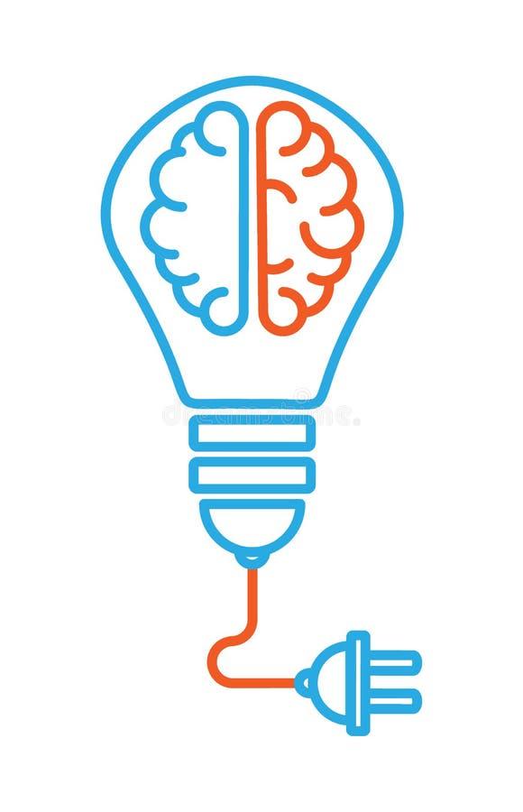 O ícone no assunto é uma boa ideia um ícone linear com dois hemisférios diferentes do cérebro dentro do bulbo, de que há um cabo ilustração do vetor