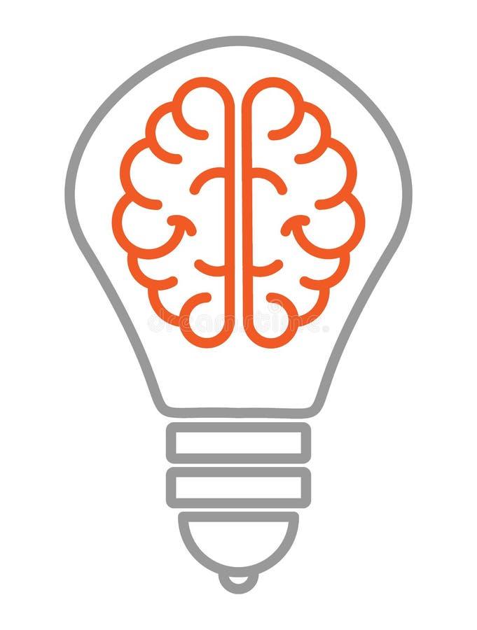 O ícone no assunto é uma boa ideia um ícone linear com a imagem de dois hemisférios do cérebro dentro do bulbo ilustração royalty free