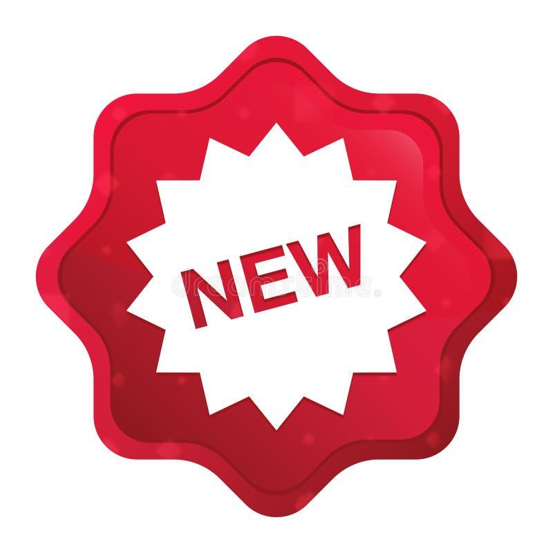 O ícone novo do crachá da estrela enevoado aumentou botão vermelho da etiqueta do starburst ilustração stock