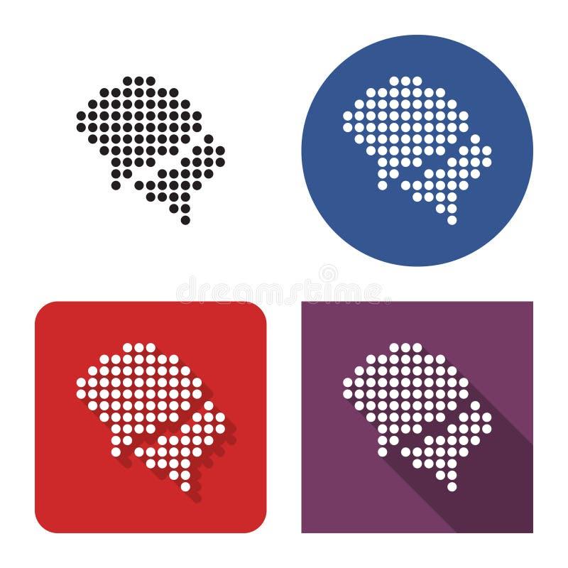 O ícone pontilhado de duas bolhas vazias do discurso dialoga o ícone em quatro variações ilustração stock