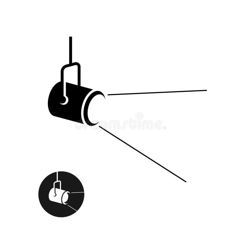 O ícone preto da silhueta do projetor com luz dispersou raios ilustração do vetor