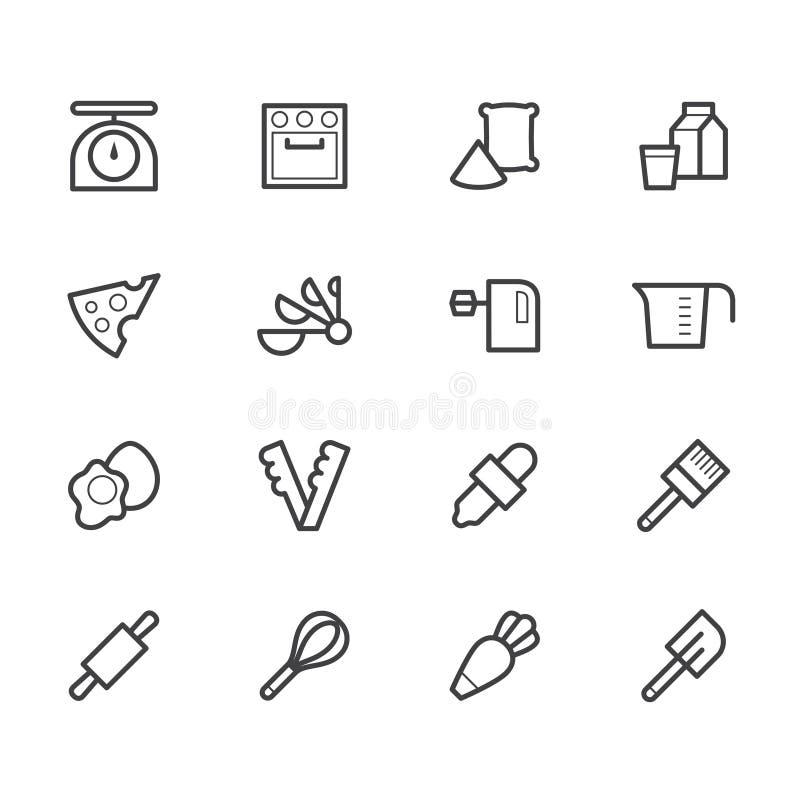 O ícone preto das ferramentas da padaria ajustou-se no fundo branco ilustração do vetor