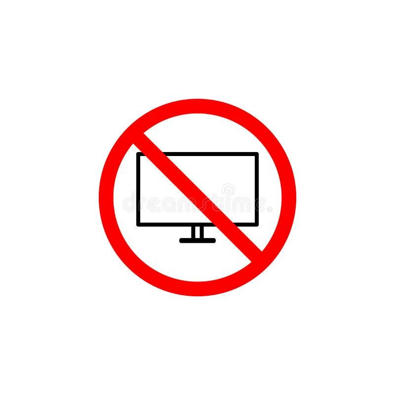 O ícone proibido da televisão no fundo branco pode ser usado para a Web, logotipo, app móvel, UI UX ilustração royalty free