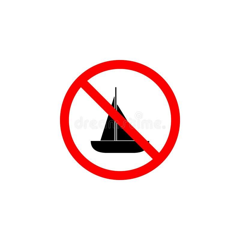 O ícone proibido do barco no fundo branco pode ser usado para a Web, logotipo, app móvel, UI UX ilustração stock