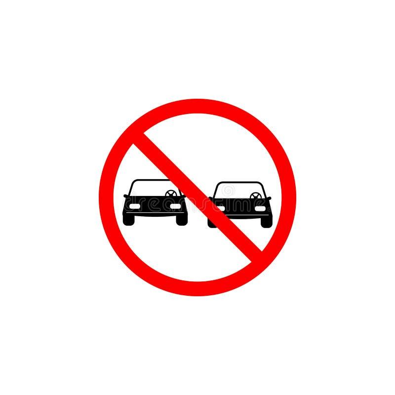 O ícone proibido do carro da passagem no fundo branco pode ser usado para a Web, logotipo, app móvel, UI UX ilustração do vetor