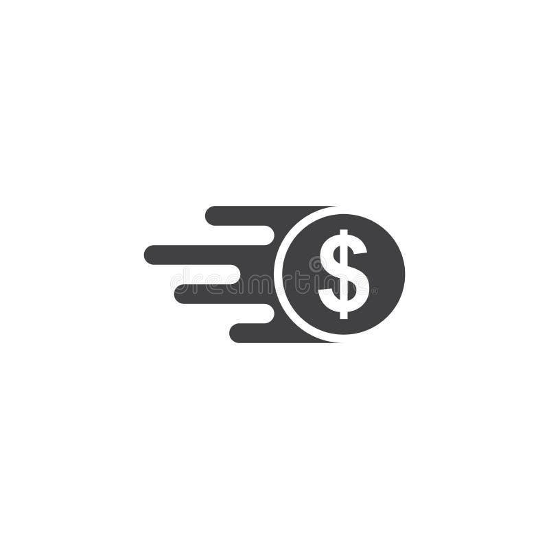 O ícone rápido do dinheiro, transferência rápida do ícone do vetor isolou o fundo branco ilustração stock