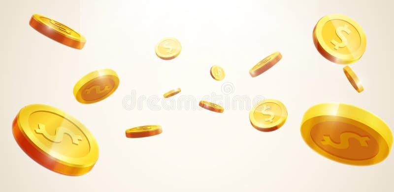 O ícone realístico de queda da moeda do vetor 3d das moedas de ouro com sombras é imagens de stock royalty free