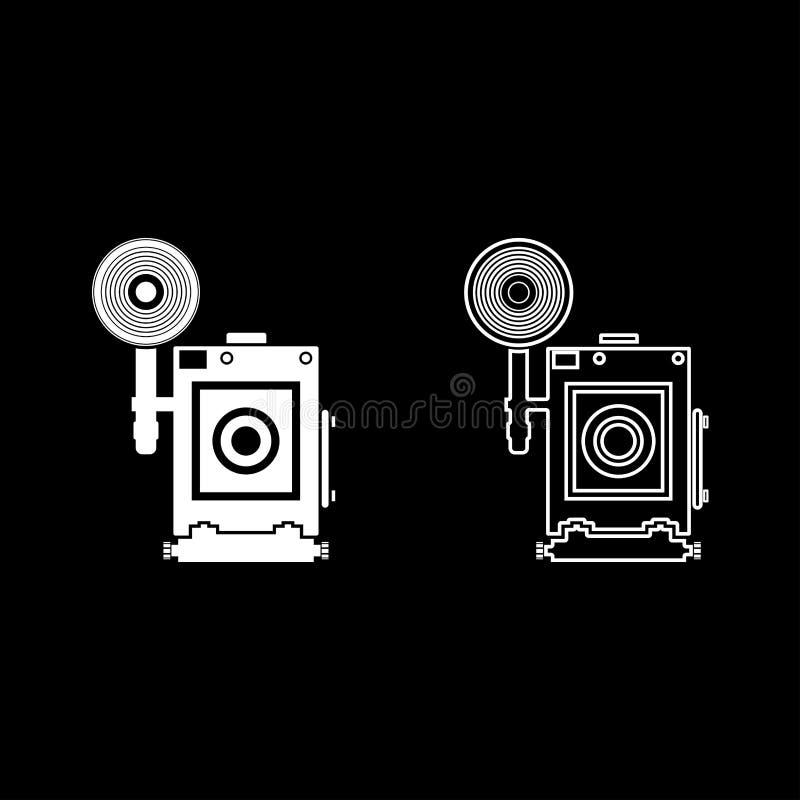 O ícone retro da opinião da cara da câmera da foto do vintage da câmera ajustou a imagem lisa do estilo da ilustração branca do v ilustração royalty free