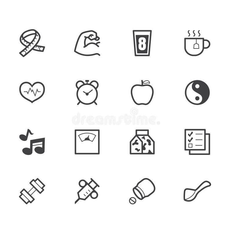 O ícone saudável do preto do elemento ajustou-se no fundo branco ilustração do vetor