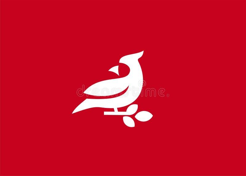 O ícone simples do logotipo do pássaro cardinal projeta a ilustração do vetor ilustração royalty free