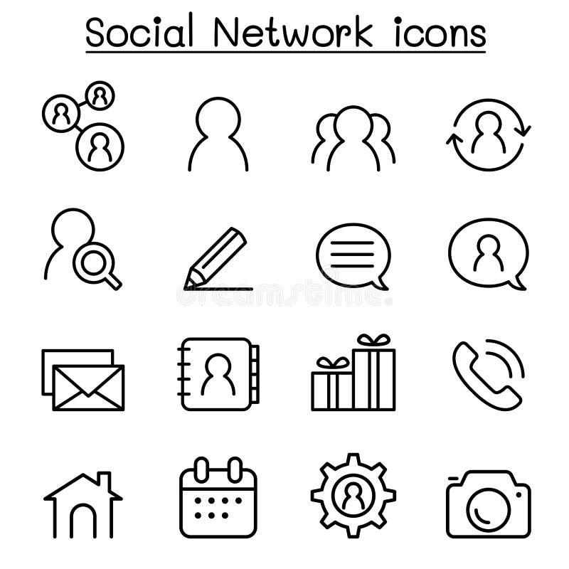 O ícone social da rede ajustou-se na linha estilo fina ilustração do vetor
