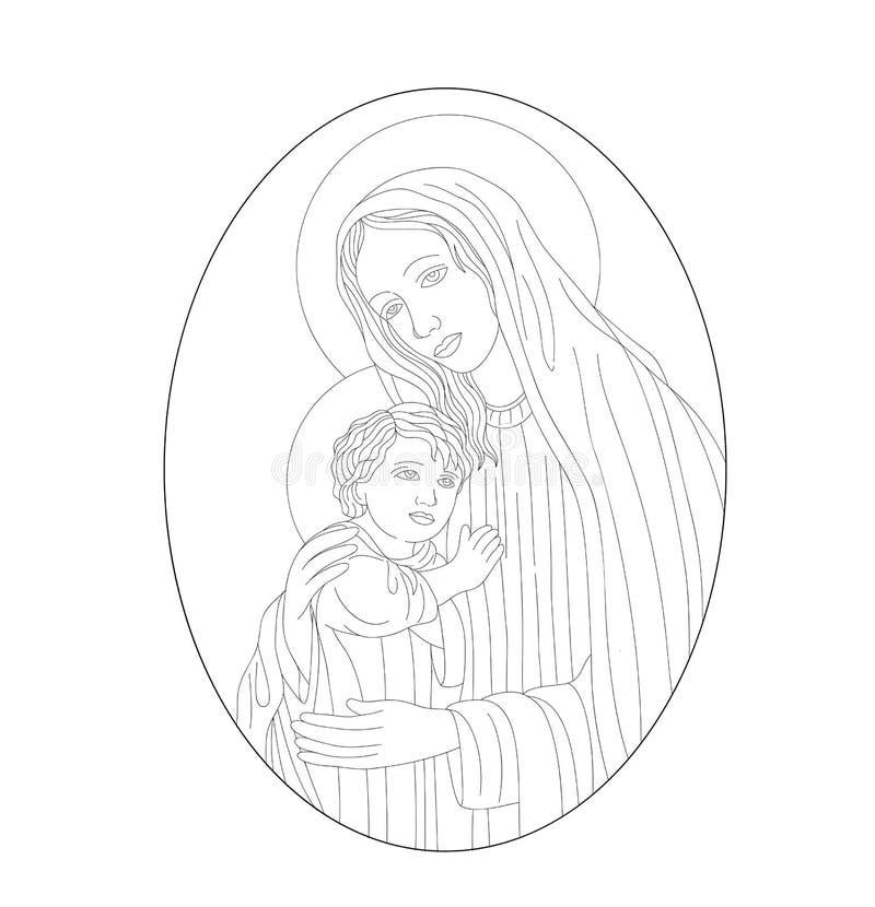 O ícone uma mãe do deus Mary e da criança Jesus Christ ilustração do vetor